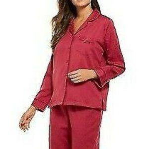 Miss Elaine Womens Pajama Top L Pink Satin NWT
